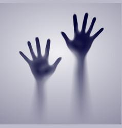 Two open hands in gray mist designer vector