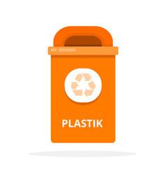 Urban trash bin for plastic waste flat isolated vector