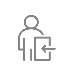 User profile with entrance sign line icon public vector