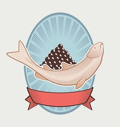 Vintage label for caviar vector
