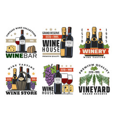 wine bottles glasses grapes bread and cheese vector image