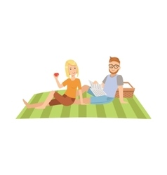 Woman Eating Apple And Man Reading Newspaper On vector