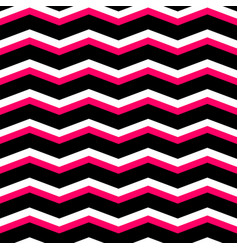 zig zag chevron black pink and white tile pattern vector image