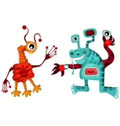 cartoon alien set vector image