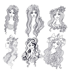 hand drawn doodle girls vector image vector image
