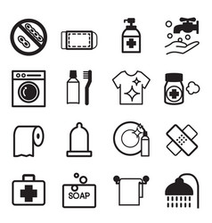 hygiene icons set vector image vector image