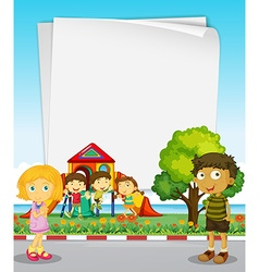 Paper design with kids in the park vector image
