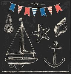 Rustic Sailboat and Anchor Sea Elements Chalk Set vector image vector image