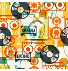 Seamless pattern with musical instruments in flat vector image