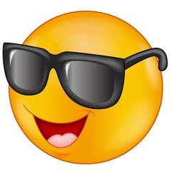 Smiling emoticon wearing sunglasses vector image vector image