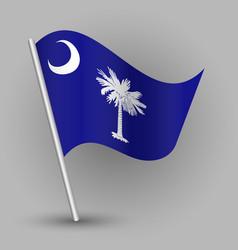 waving triangle american state flag south carolina vector image