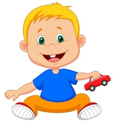 Cartoon baby playing car toy vector image vector image