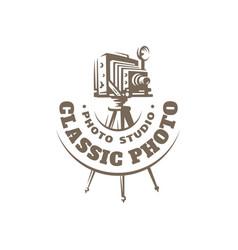 classic photo camera logo - vector image