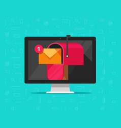 computer with mailbox on screen vector image