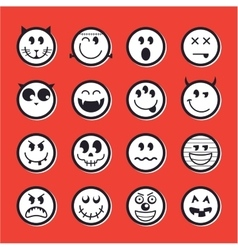 Halloween emoticon icon set collection vector image