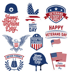 set of happy veterans day emblems emblems with vector image