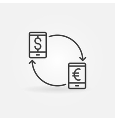 Smartphone currency converter icon vector