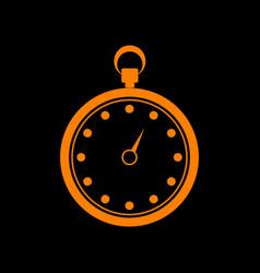 stopwatch sign orange icon on black vector image
