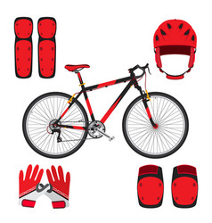 bicycle bike skateboarding equipment and protect vector image vector image