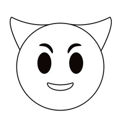 devil emoticon funny thin line vector image vector image