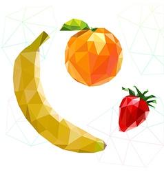 Fruit set of polygons Banana orange strawberry vector image vector image