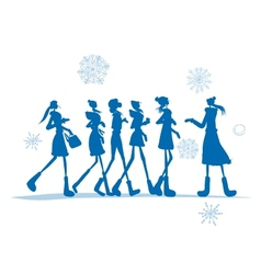 Girls in winter coats for your design vector image vector image