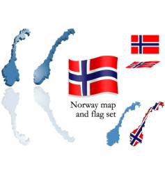 norway map and flag set vector image vector image