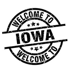 welcome to iowa black stamp vector image vector image