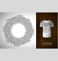 a doodle flower pattern in the form of a wreath vector image vector image