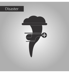black and white style icon tornado helicopter vector image
