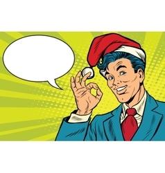 Christmas businessman OK gesture vector image vector image