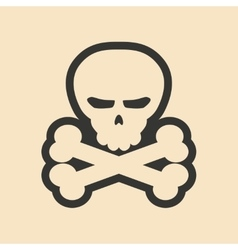 Flat in black and white mobile application skull vector image vector image