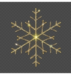 Sparkling golden snowflake with glitter texture vector image