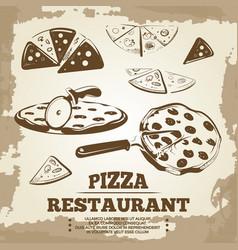 vintage pizza elements for cafe restaurant bar vector image vector image