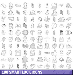 100 smart lock icons set outline style vector image