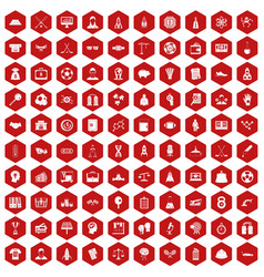 100 success icons hexagon red vector