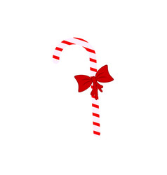 a candy cane with bow icons christmas vector image