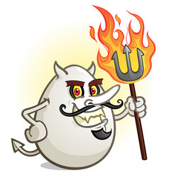 A deviled egg cartoon character holding a flaming vector