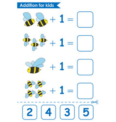 Addition game with cute bees math game for kids vector