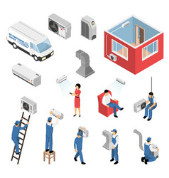 Air conditioners isometric set vector