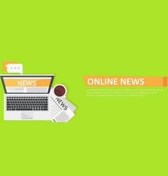 Banner online news computer coffee newspaper vector