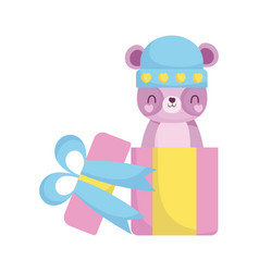 Bashower bear with hat in gift box announce vector