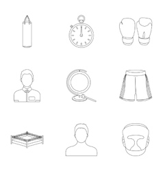 Boxing set icons in outline style Big collection vector