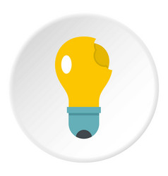 Broken yellow lightbulb icon circle vector