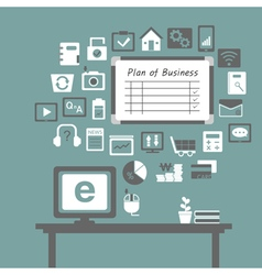 business icons in office vector image