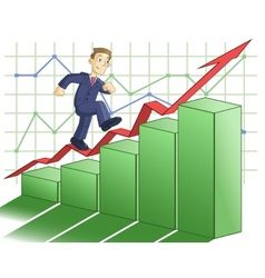 Businessman is climbing up the business graph vector image