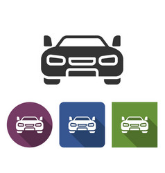 car icon in different variants with long shadow vector image