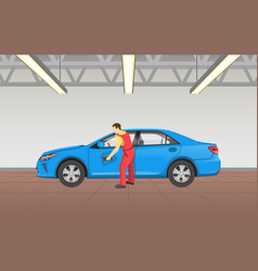 Car polishing in garage job vector