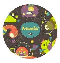 Cartoon alien monsters friends vector image