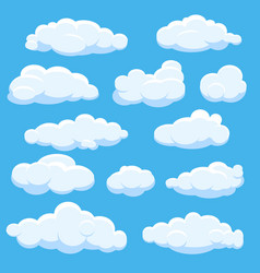 Cartoon clouds on blue sky vector